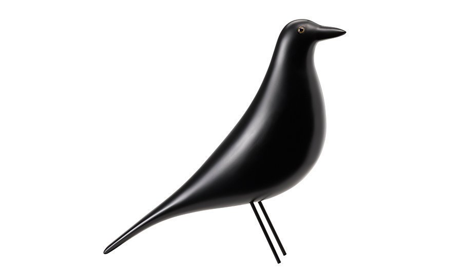 The Eames House Bird is made of solid alder with a black lacquer finish and steel wire legs. Image courtesy of Vitra.