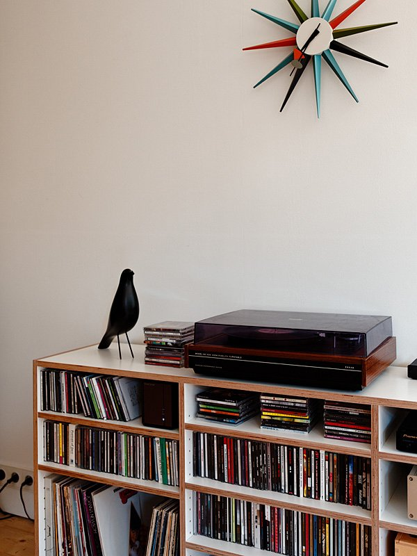 In this Bratislava apartment an Eames bird keeps watch over the record collection.