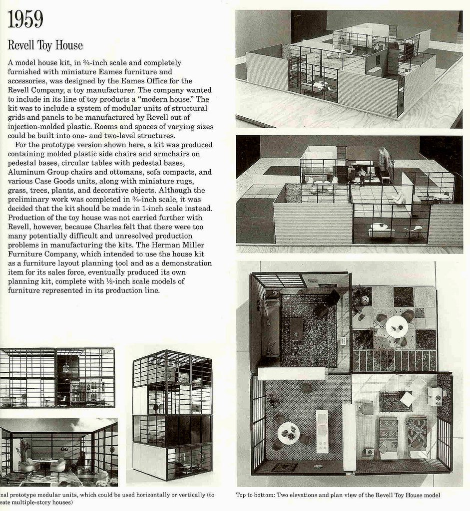 Revell Toy House  In 1959, Charles and Ray Eames prototyped what might have been the coolest of Mid-Century Modern collectible; a dollhouse done in the modern style of their own home, outfitted with miniature models of Eames' furniture.  Photo credit: The Shopping Sherpa via Creative Commons  Photo 2 of 4 in 10 Things You Didn't Know About Charles and Ray Eames