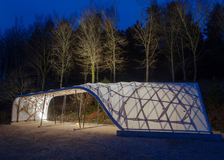 In London, students from the Architectural Association used beech trees leftover from thinning a forest at their school's Dorset campus to craft a delicately framed shelter. Via Dezeen  Green Edition of Links We Love by Olivia Martin