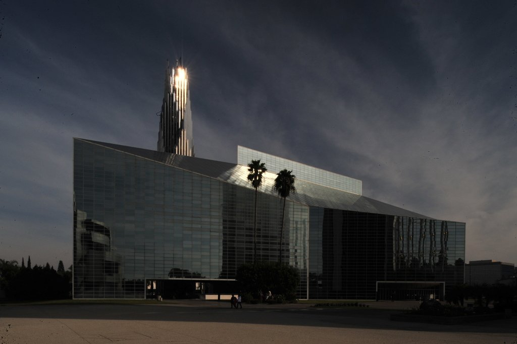 Philip Johnson, Crystal Cathedral (1981)   Home to the massive congregation of preacher Robert Schuller, famous for the Hour of Power television show, the Crystal Cathedral certainly puts the mega in megachurch. Technically a tower of glass, the $18 million structure designed by Philip Johnson utilizes silicon-based glue to hold the 10,000 glass panes in place (it can withstand a 8.0 earthquake). It's currently being renovated by the Catholic church, which purchased the space after Schuller went bankrupt in 2010.  Photo courtesy Forgemind ArchiMedia, Creative Commons  Photo 8 of 10 in 10 Inspiring Modern Churches