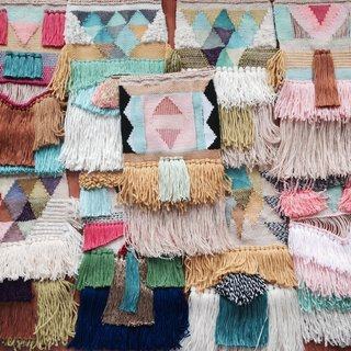 Textured, Woolen Tapestries Made of New and Vintage Yarn - Photo 3 of 6 -
