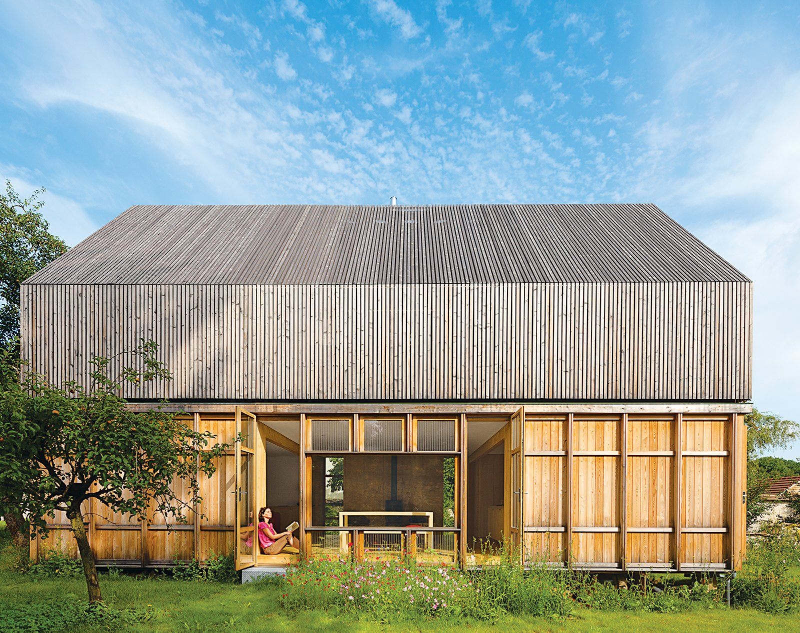 """The house has four varieties of wood that relate to one another with a similar material vocabulary. """"It is all about finding ways to assemble pieces of the same nature,"""" says Lamine."""