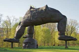 "Dwell Recommends: Storm King Art Center - Photo 1 of 7 - Zhang Huan explains that the idea behind ""Three Legged Buddha"" was juxtaposing ""two forces, one from heaven, one from earth, merging them together, but also putting them together as opposite forces."" Storm King Art Center, gift of Zhang Huan and Pace Gallery. Photo: Jerry L. Thompson, © Zhang Huan Studio, courtesy Pace Gallery."