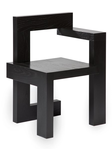 50 years  Gerrit Rietveld's Steltman chair has recently been reissued by Rietveld Originals to mark its fiftieth anniversary. The chair, originally designed to seat engaged couples as they choose rings at the Steltman jewelry house in The Hague, was reproduced based on Rietveld's drawings and one of the two original chairs, currently housed in Amsterdam's Rijksmuseum.  Photo courtesy of Rietveld Originals.