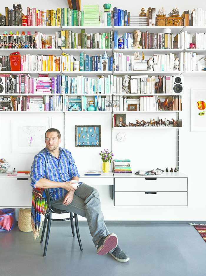 Rob Fissmer of the furniture company Vitsœ lives with his wife in a restored, A. Quincy Jones-designed house in Crestwood Hills. (Get a full tour of the space here!)  Storage by Dwell from Ask the Expert: Gift-Buying Tips from Rob Fissmer of Vitsœ