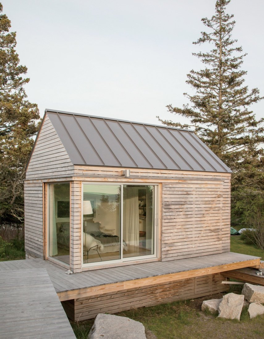 """We did our best to tuck the buildings into the site—the goal was to get up high on a perch. It was a matter of setting that elevation and working back down with the topography.""—Riley Pratt, architectural designer  Bedrooms by Dwell from A Cluster of Cabins in a Former Quarry Makes a Simple Vacation Escape"