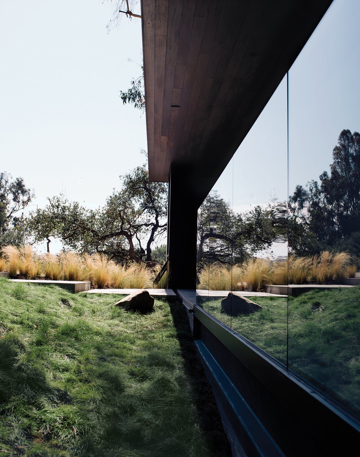 Walker left the site in its natural state, but added grasses along the path to the entrance. For more ways to use grass in your home.  20 Homes with Inspiring use of Glass by Diana Budds from Modern Home Designed for Live Music in Beverly Hills