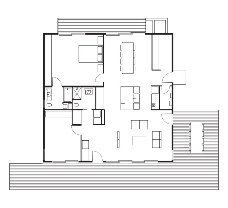 Connect 5 House Floor Plan: A Kitchen / B Dining Room / C Living Room / D Master Bedroom / E Bathroom / F Bedroom / G Utility Room / H Deck.