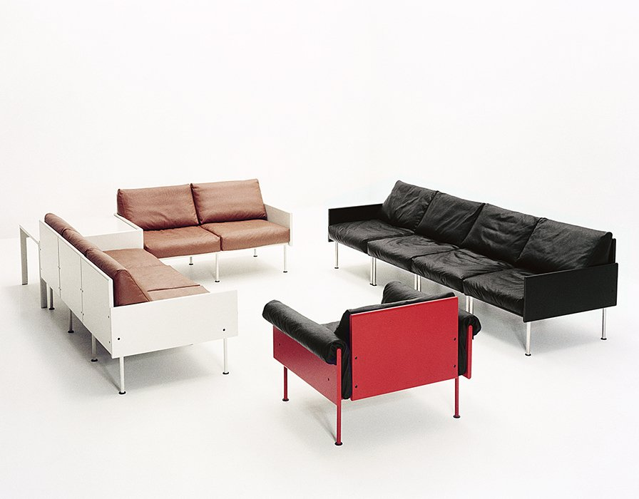 The 1964 Ateljee line was born out of a loose idea encouraged by Kukkapuro's manufacturer, Gunnar Haimi. Starting with a wooden box filled with pillows, Kukkapuro came up with a modular seating system comprising plush upholstery attached to a simple paneled frame. The undercarriage was inspired by the metal Heteka cot, ubiquitous in postwar Finland.