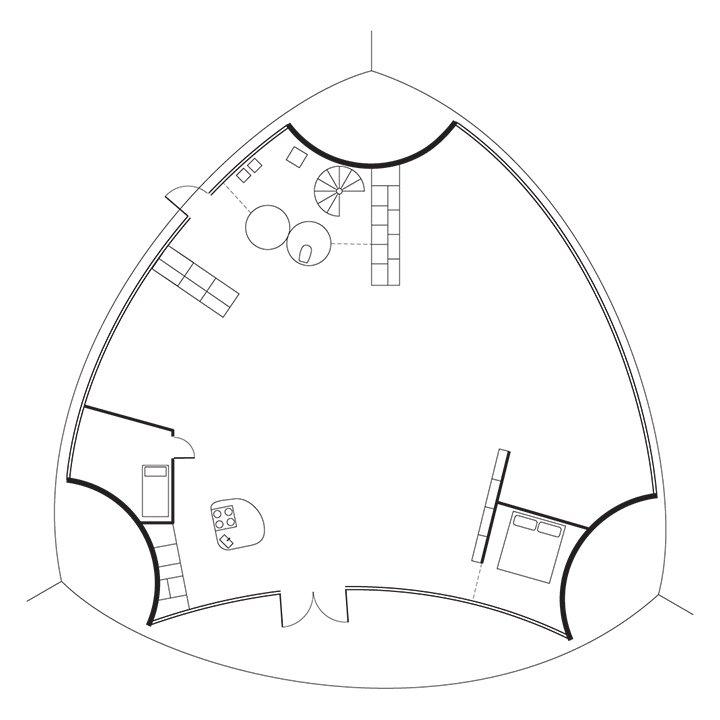 Kukkapuro Studio Floor Plan  A Entry / B Bathroom / C Kitchen / D Studio / E Sitting Area / F Bedroom  Photo 7 of 7 in Modern Studio of a Finnish Design Legend