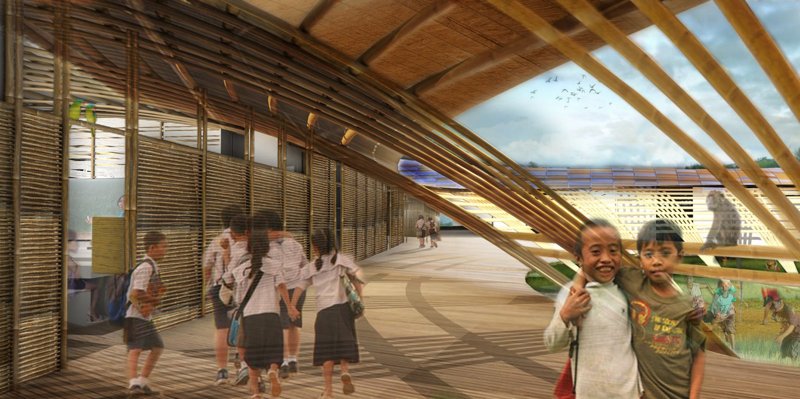 "MAT-TER chose bamboo as the primary building material, ""in order to keep the carbon footprint as low as possible throughout all stages of the building's lifespan,"" says To. The bamboo and interior modular units resist the effects of climate change and are flexible to local repair should a disaster incur damage. These interior units support each other and the main flooring system and are also elevated aboveground on a grid of concrete pilotis ""to allow wind to pass underneath and protect flooding.""  Photo 8 of 11 in 11 Innovative and Modern Schools Where Creativity and Good Design Rule from A Storm-Resistant School Concept in the Philippines"