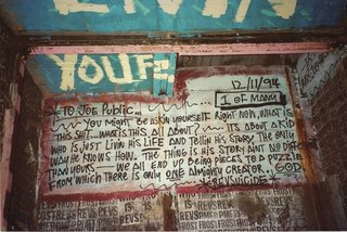 An autobiographical diary entry by the graffiti artist REVS, who scattered these pages of his life story throughout the transit system. Photo courtesy Jurne.