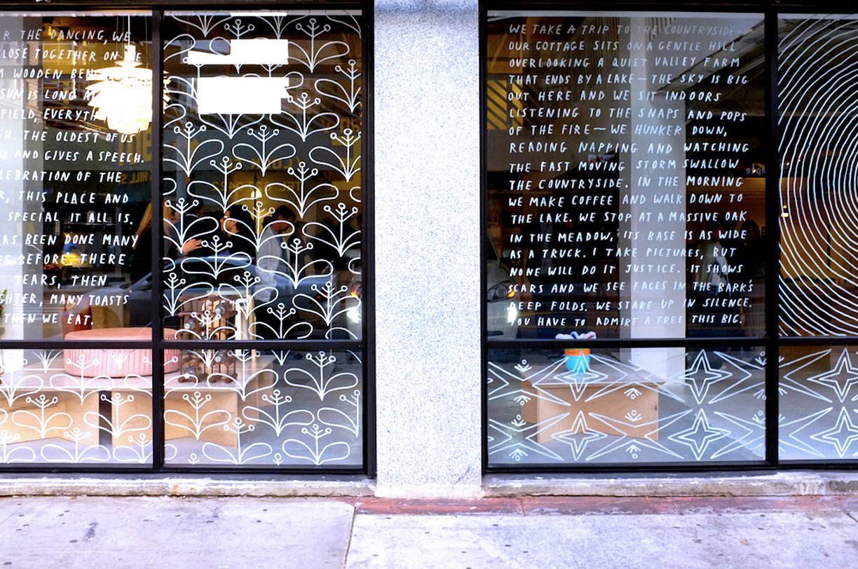 Excerpts from the journal artist Brian Rea wrote in while he was traveling in Sweden adorn the storefront's glass.  Best Photos from Shops We Love: Austere, Los Angeles