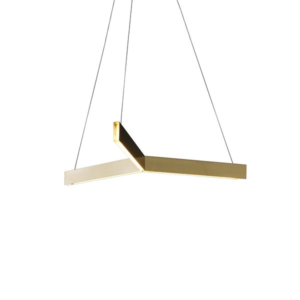 Named for the triangular shape formed by its hanging wires, the Tri Pendant is comprised of three intersecting aluminum channels that hold an LED strip. The light reflects off the panels, further adding to the warmth of the diffused white light.
