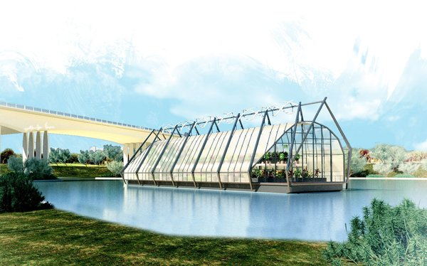 The notion that form and image can enhance conservation, comfort, and community at every scale of design informs The Looper, an idea for a river barge repurposed as a water-filtering greenhouse, by Dwell on Design presenter Lance Hosey's firm RTKL. The design was an entry in the 2013 snoLEAF greenhouse ideas competition.