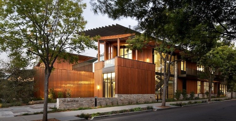The David and Lucile Packard Foundation Headquarters (Los Altos, California: 2012)  The forward-thinking headquarters of the David and Lucile Packard Foundation, created in 2012, embodies the vision and mission of the philanthropic concern, a reflection of the Hewlett-Packard founder's passion for the environment and technology. An angular grid of configurable office suites encircling an open courtyard, the Bay Area site reflects the region, sporting salvaged wood, local stone, and a red cedar exterior. And while the structure itself, a Net Zero Energy Building that earns LEED Platinum certification, is impressive, the architects at EHDD did one better by shaping culture as well as space. An energy audit revealed that the staff's emissions were generated mostly from transportation, so EHDD added video conferencing suites and a shuttle to pick up staff from the nearby rail station.  Photo by Jeremy Bitterman