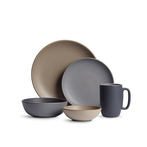 The clean, simple lines of Indigo/Slate Dinnerware by Heath Ceramics, based in Sausalito, California, showcase the materials to their best advantage.