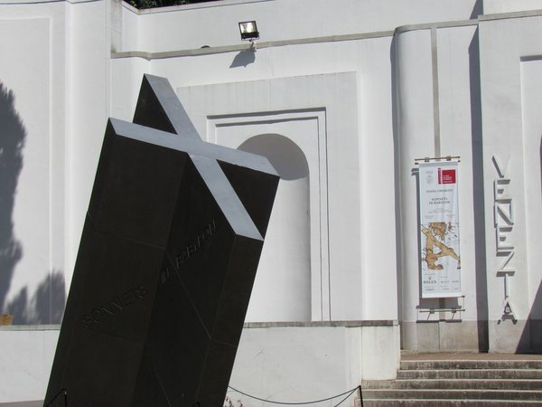 Just outside the Venice Pavilion, visitors are greeted by a sculpture whose cross shape, says Libeskind, recalls the axis as fundamental to architectural drawing. Photo by Paul Clemence.