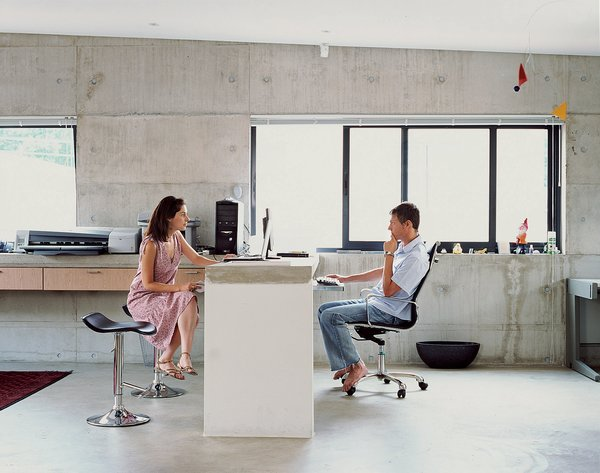 With Gregory and Caryn both working from home, it was crucial that their office (a communal space located off the landing upstairs) accommodate separateness of space and privacy.