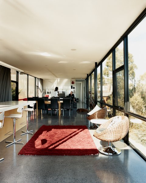 The concrete floor acts as a giant thermal bank, storing solar heat well into the evening.