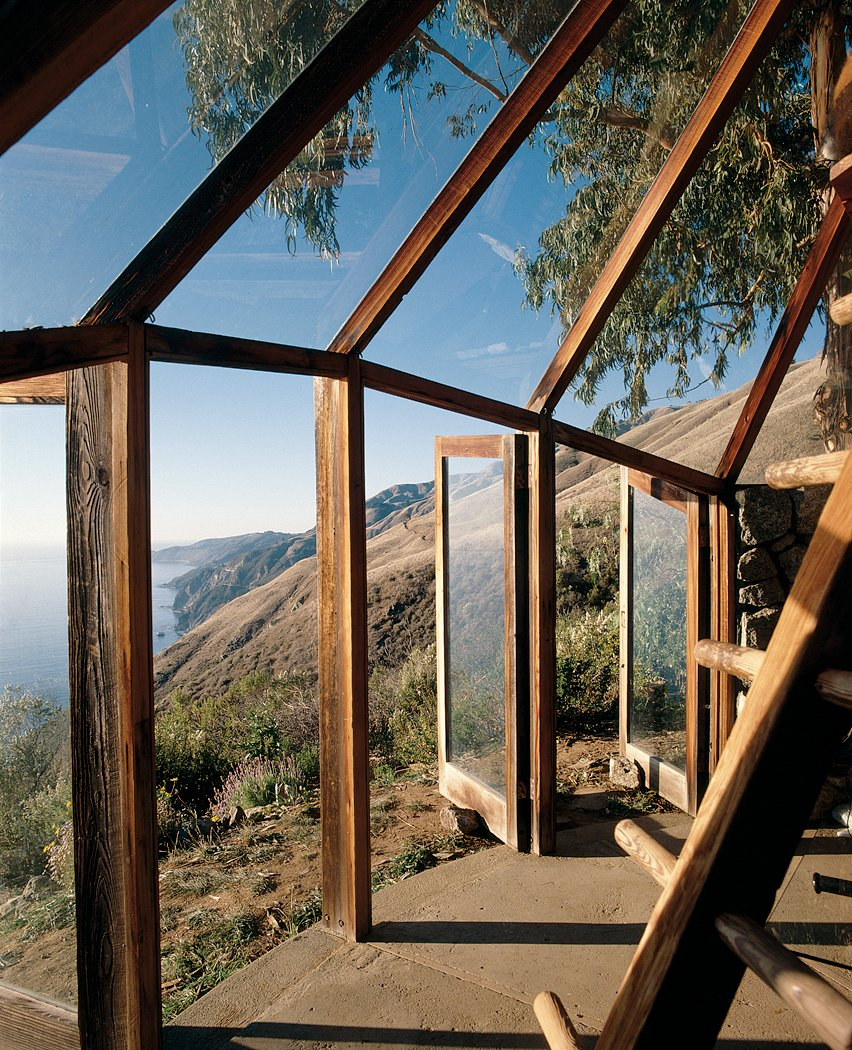 Muennig's Green House utilizes the western sun of the dramatic Big Sur coastline. Tagged: Outdoor, Small Patio, Porch, Deck, and Concrete Patio, Porch, Deck.  Views by DAVE MORIN from Big Sur: Coastal Commissions