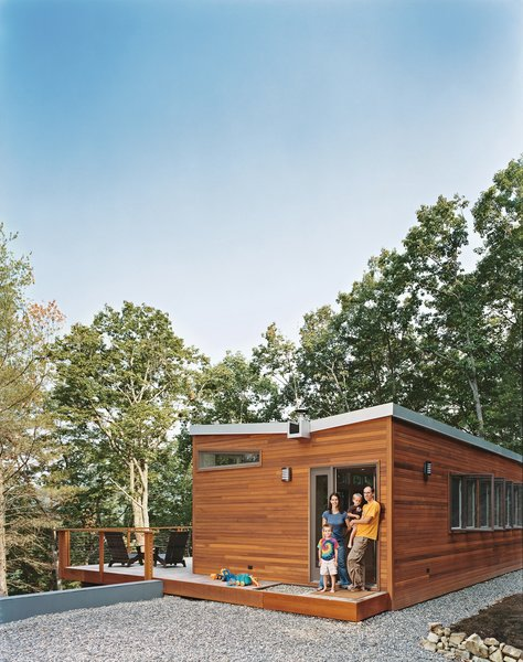 The residents worked with architecture firm Resolution: 4 Architecture on the specs for their prefab cabin, and then commissioned Simplex to assemble it on their factory floor and drive it out to their remote West Virginia location.