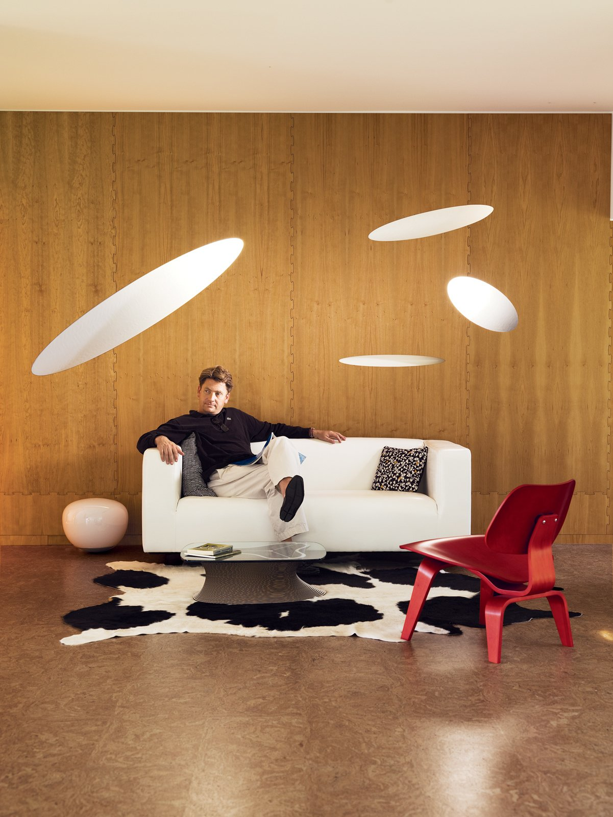 William Massie relaxes inside the utterly unique interior of his America House 08.  127+ Inspiring Interior Ideas by Dwell from Massie Produced