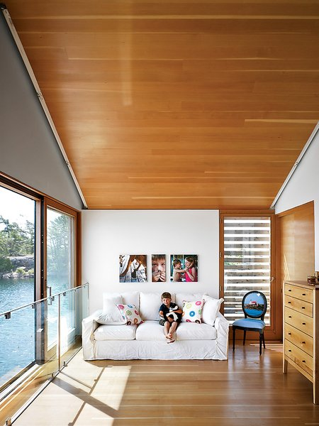 Becca was uneasy about a network of slats over the windows in the living room, but she came to love the mediated views they provide.