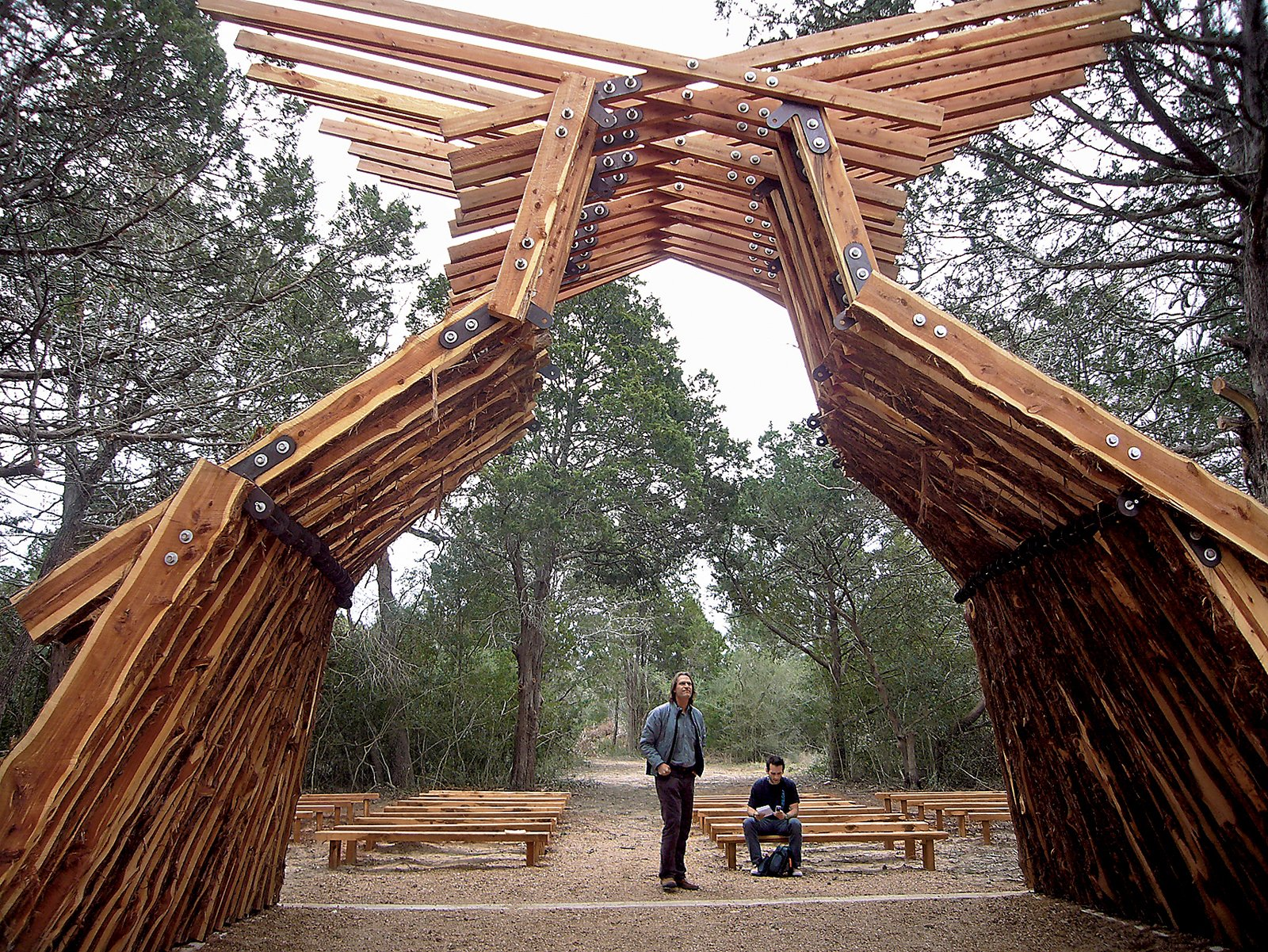 """Legge says he finds new ways of looking at the structure each time he visits it. """"When the sun goes down in summer,"""" he says, """"the light through the wood sets the whole thing on fire."""""""