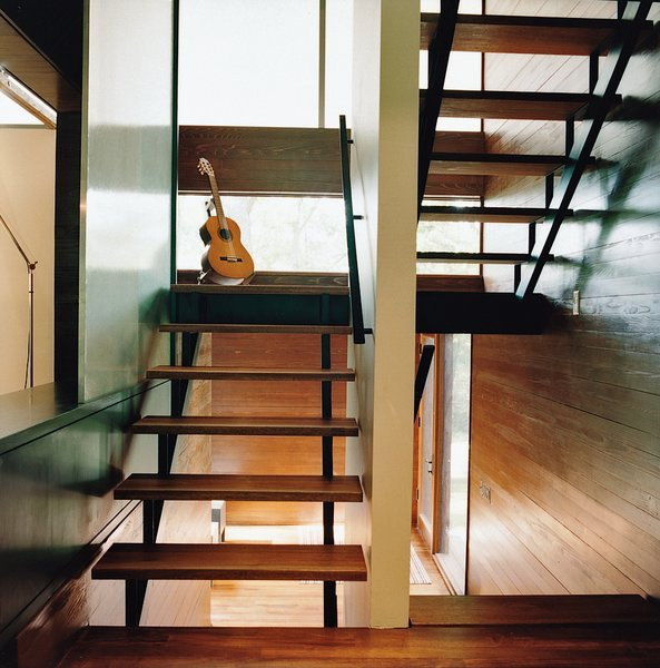 The stairway to the office loft is lit by translucent windows insulated Nanogel.