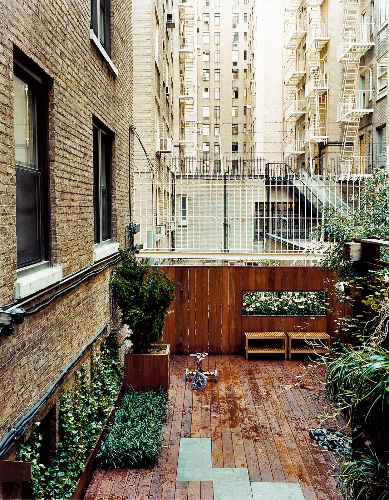 The Zizmors installed a 16-foot-wide deck for playing and grilling, and lined it with hostas, Hollywood juniper, and bamboo. Outdoor Living in NYC - Photo 5 of 11