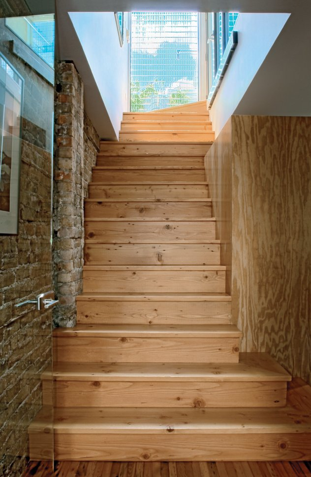 The stairs are made of reclaimed timber.