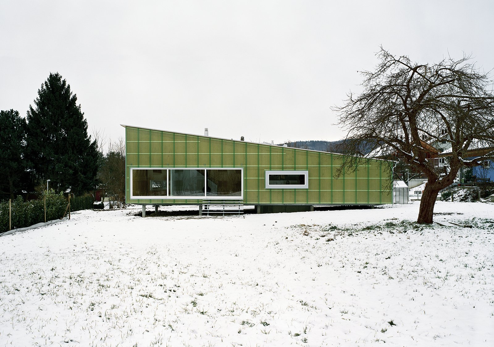 The entire house is made from slabs of prefabricated, formaldehyde-free compressed straw.