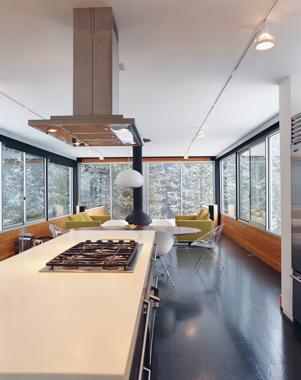 Fully enclosed by glass, Hiller's kitchen and living room give the feeling of being in a tree house. Tagged: Kitchen, Range, and Range Hood.  Photo 4 of 6 in Ski Lift