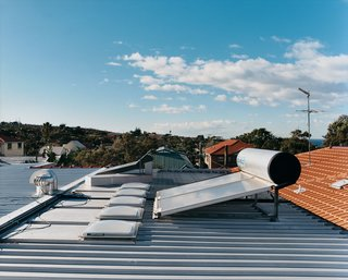 Household water is heated by a rooftop solar system.