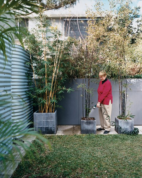 In the garden, Mary Henning gives her potted plants a much-needed drink of graywater diverted from the kitchen and bathrooms and filtered by a massive green wall.