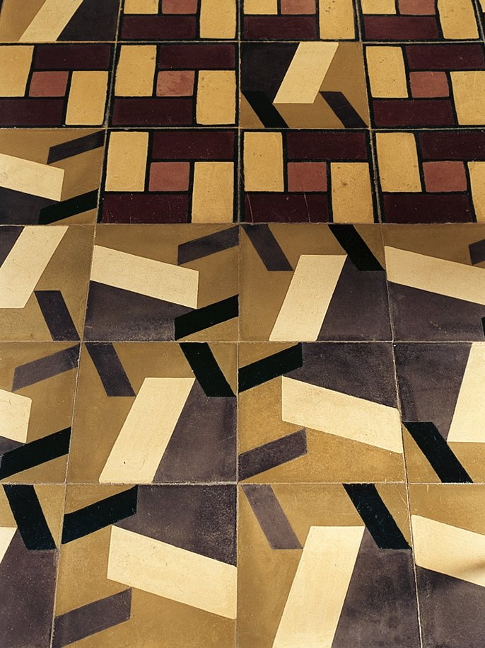 Traditional isleño tiles (at the top) were augmented with a new pattern by Nataniel Fúster.