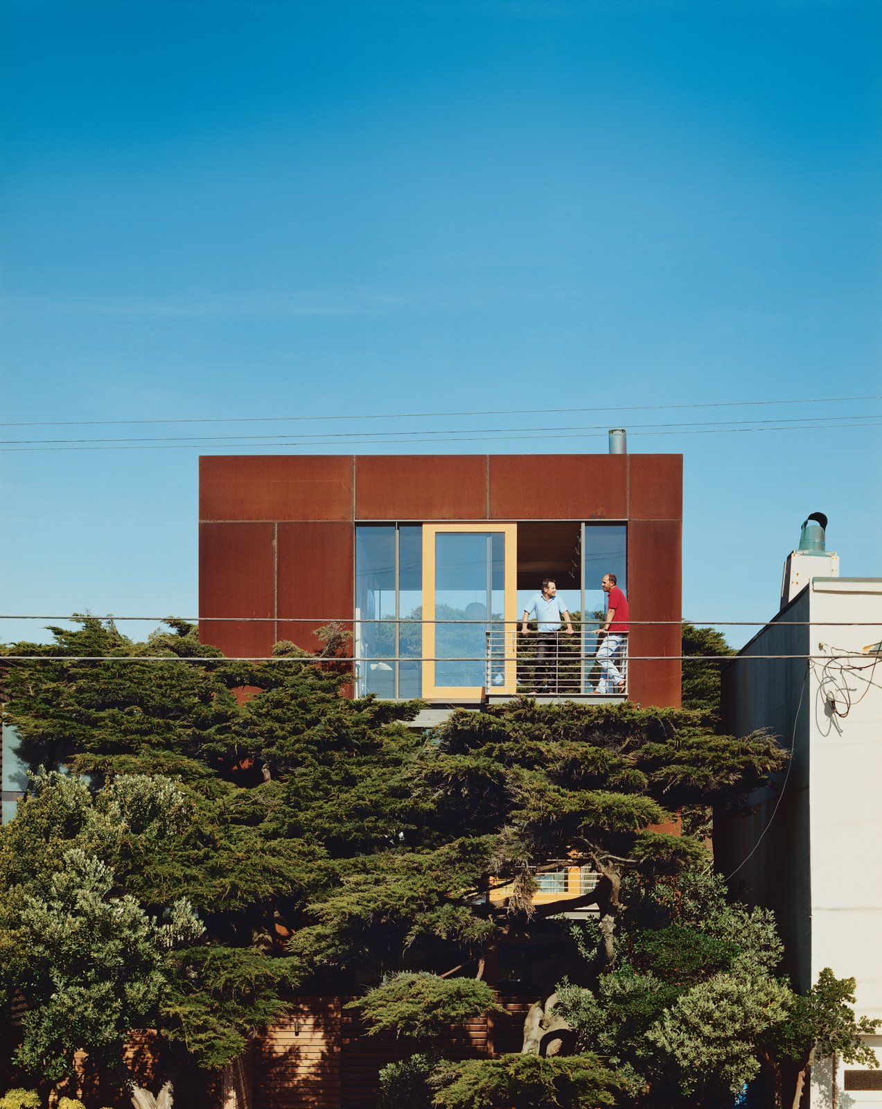 A 24-by24-foot Cor-ten-clad pavilion tops the three-story addition. Tagged: Exterior, House, and Metal Roof Material. This Surfer's Beach House is More Than It Seems - Photo 7 of 13