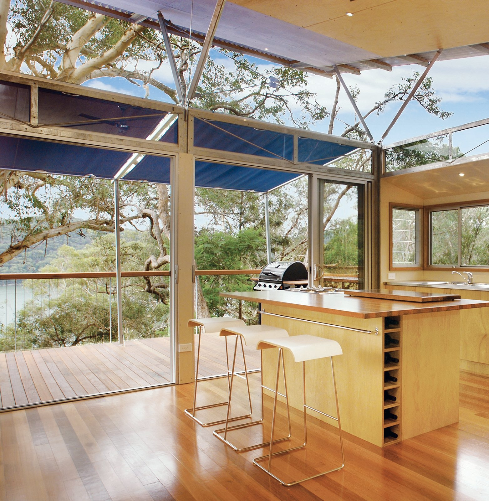 The kitchen has a view to the Hawkesbury River.