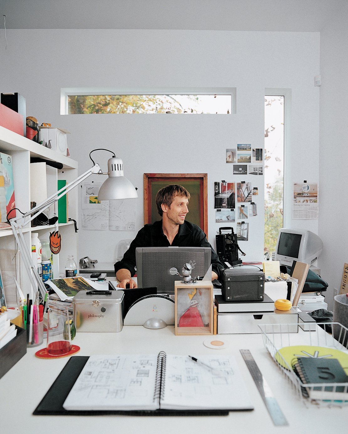 Stefan at work in his studio. Tagged: Office and Desk.  Photo 5 of 8 in Aloft in the Forest