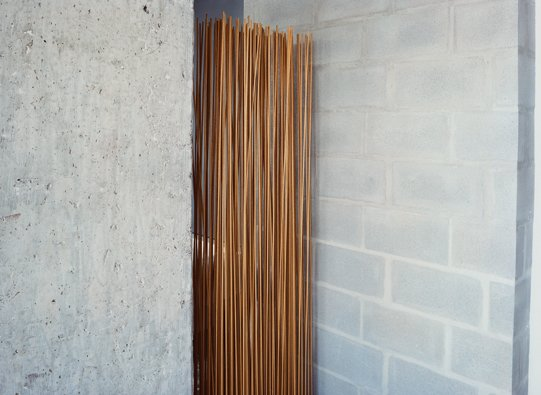 A room divider by Extremis, made of sticks protruding from a rubber base, shields the bathroom.  Photo 7 of 11 in Stripped Ease