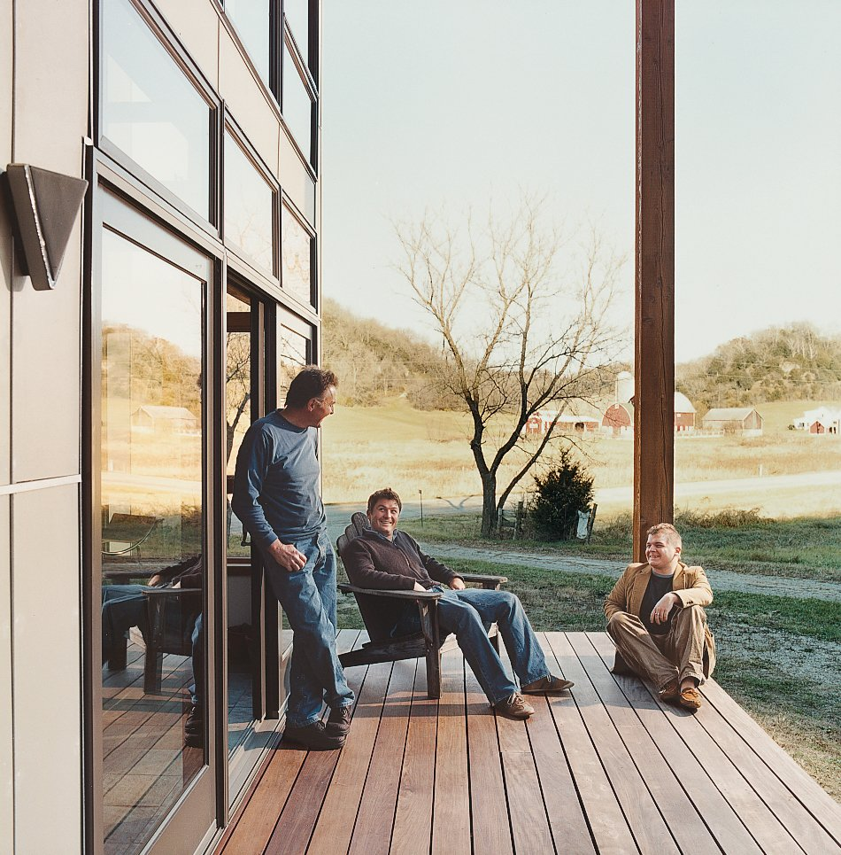 Bill Weber and sons Nick and Wyatt (left) relax on the home's deck.  Photo 10 of 12 in Labor of Loved Ones