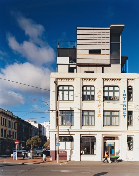 A side view of the Bieringas' apartment reveals its jigsaw puzzle–like composition, and its contrast with its historic base.