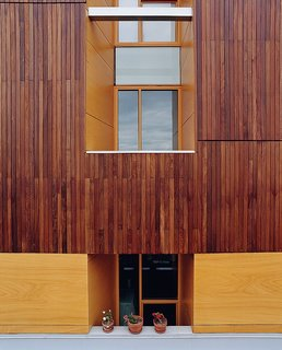 A detail of the building's exterior reveals the texture of the ipe cladding.