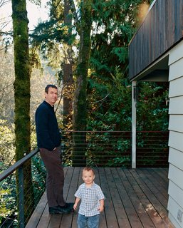 Cooler Ranch - Photo 8 of 9 - Brian and Markus are pictured here on the ground-floor deck. New stairs lead down to the basement level and garden.