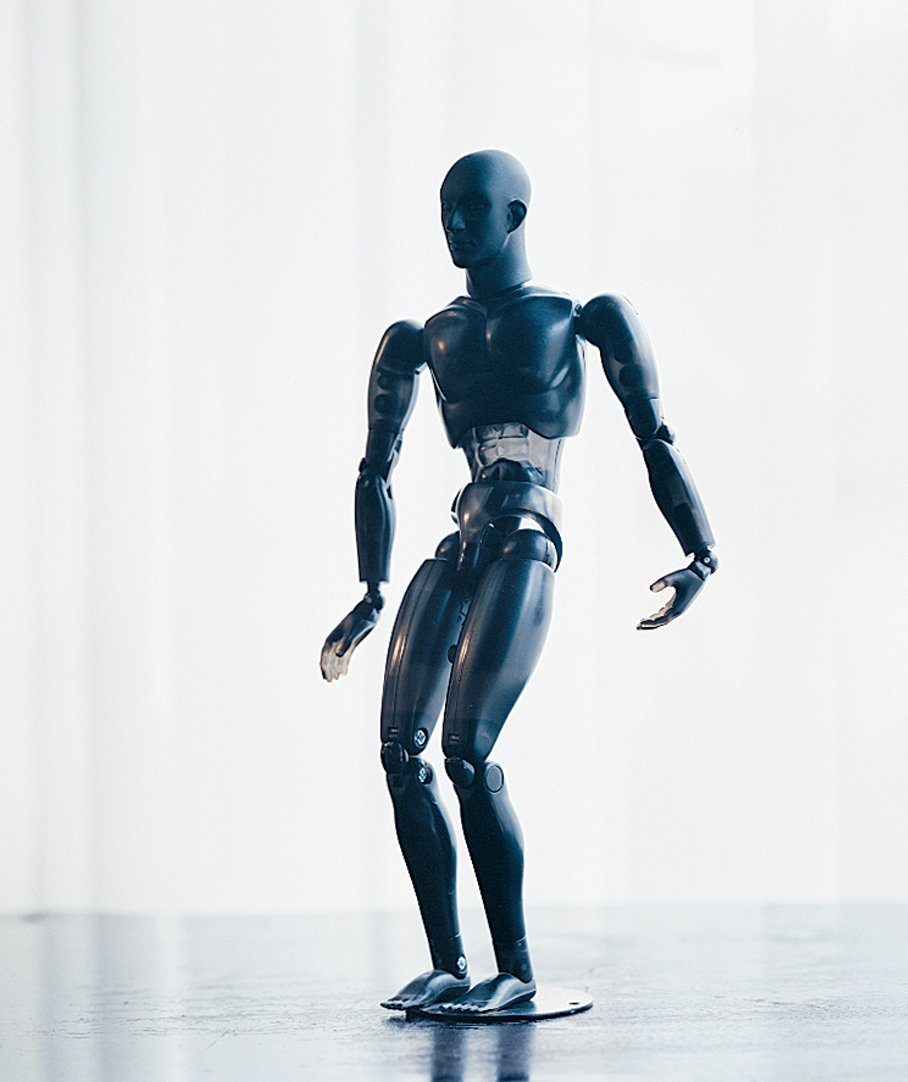 "A poseable artist's model Wanders purchased when he was working on his ""breathing"" mannequins for the Mandarina Duck flagship store in London."