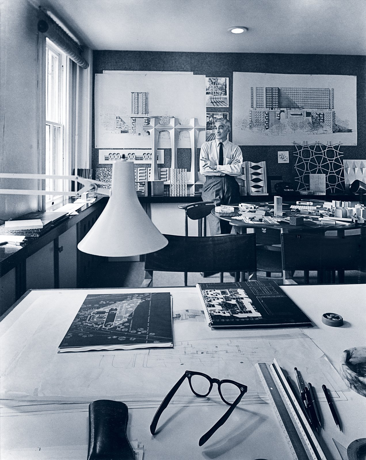 Charles Goodman in his Washington, D.C. office during the 1950s.  Photo 2 of 6 in Community of Vision