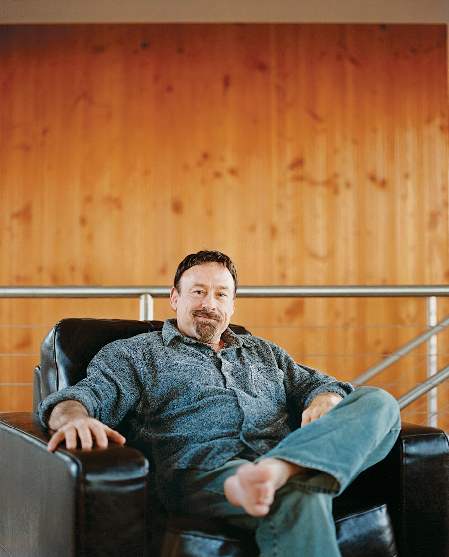 Scott Stafne relaxes in his upstairs office/TV room in his Natuzzi lounge chair.  Photo 6 of 10 in On a Rock in a Hard Place
