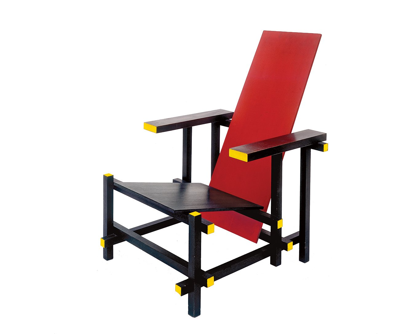 Rietveld's Red and Blue chair, designed in 1917, is a dramatic composition of planes and lines. The colors were inspired by Mondrian, a fellow member of the influential De Stijl movement.